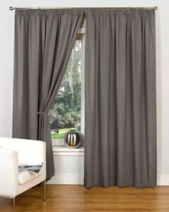 Canvas Grey Curtains Pencil Pleat Tape