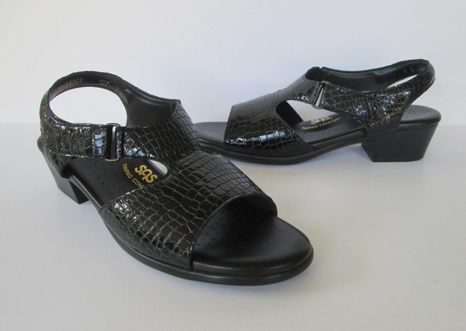 SAS Womens Black Tri Patent Leather Faux Croc Tri Black Pad Comfort Sandals Shoes 9 N e073e1