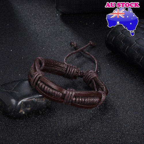 Fashionable Women / Men (Unisex) Adjustable Brown Leather Bracelet