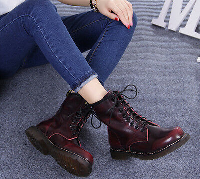Combat Soft Leather Lace Up Mid Calf Womens Ankle Military Boots Shoes UK2.5-7