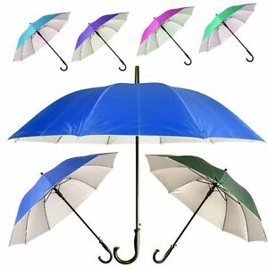 3f431f448 Image is loading New-Crook-Handle-Automatic-Open-Umbrella-Deluxe-Brolly-