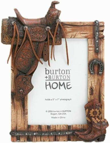 Horse Saddle and Cowboy Boot Western Themed Photo Frame Rustic Wood Look