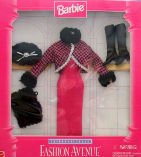 "BARBIE ""Internationale"" FASHION AVENUE ""WINTER VACATION"" Fashions w GOWN, Faux F"