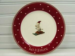 Let-It-S-039-More-by-Nikko-Salad-Plate-Sking-Marshmallow-People-Brown-Rim-b57