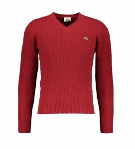 Ladies 6 Bnwt Xxs Sweater Girl Uk Cable Red Jumper 4 Lacoste f7qzUxwE
