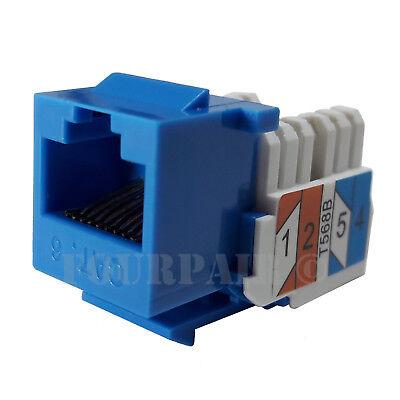 CAT5e RJ45 110 Punch Down Keystone Modular Snap-In Jacks BLUE 10 Pack Lot