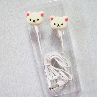 3.5mm Beige Bear Earphone Headset Headphone Earbuds for Mp3 Phone