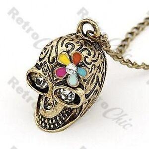 Retro-Calavera-Largos-Cadena-collar-de-diamantes-de-imitacion-Vintage-laton-Multi-flor-Goth-Chic
