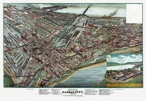 24x36 Vintage Reproduction Historic Map Kansas City Missouri Clay ...