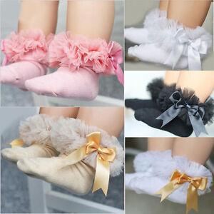 Baby Girls Kids Princess Bowknot Ruffle Frilly Ankle Socks Children Cotton Socks