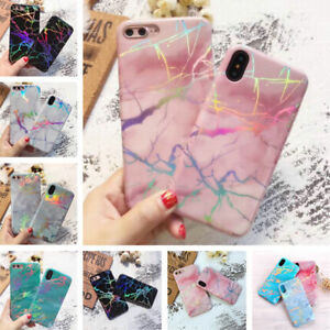 Slim-Holographic-Laser-Glossy-Marble-Soft-Rubber-Case-Cover-For-iPhone-8-7-Plus