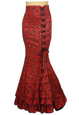 Mermaid JACQUARD FISHTAIL Long Gothic RED Corset Skirt Victorian Wicca 51054