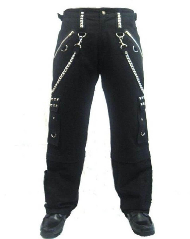 Men's schwarz Bondage Baggy Skater Trousers Pants Goth Punk Emo Gothic