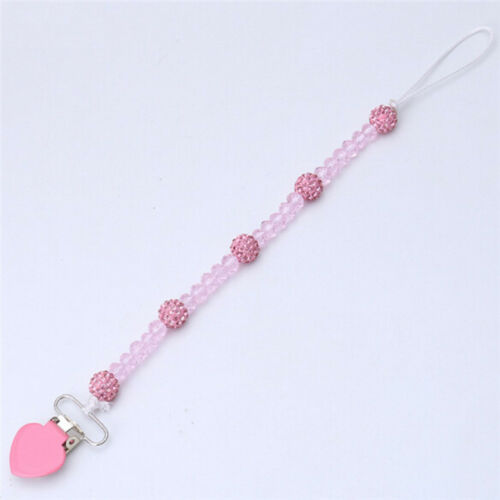 Baby Boys Girls Dummy Pacifier Soother Nipple Leash Strap Beaded Chain Clip HZ
