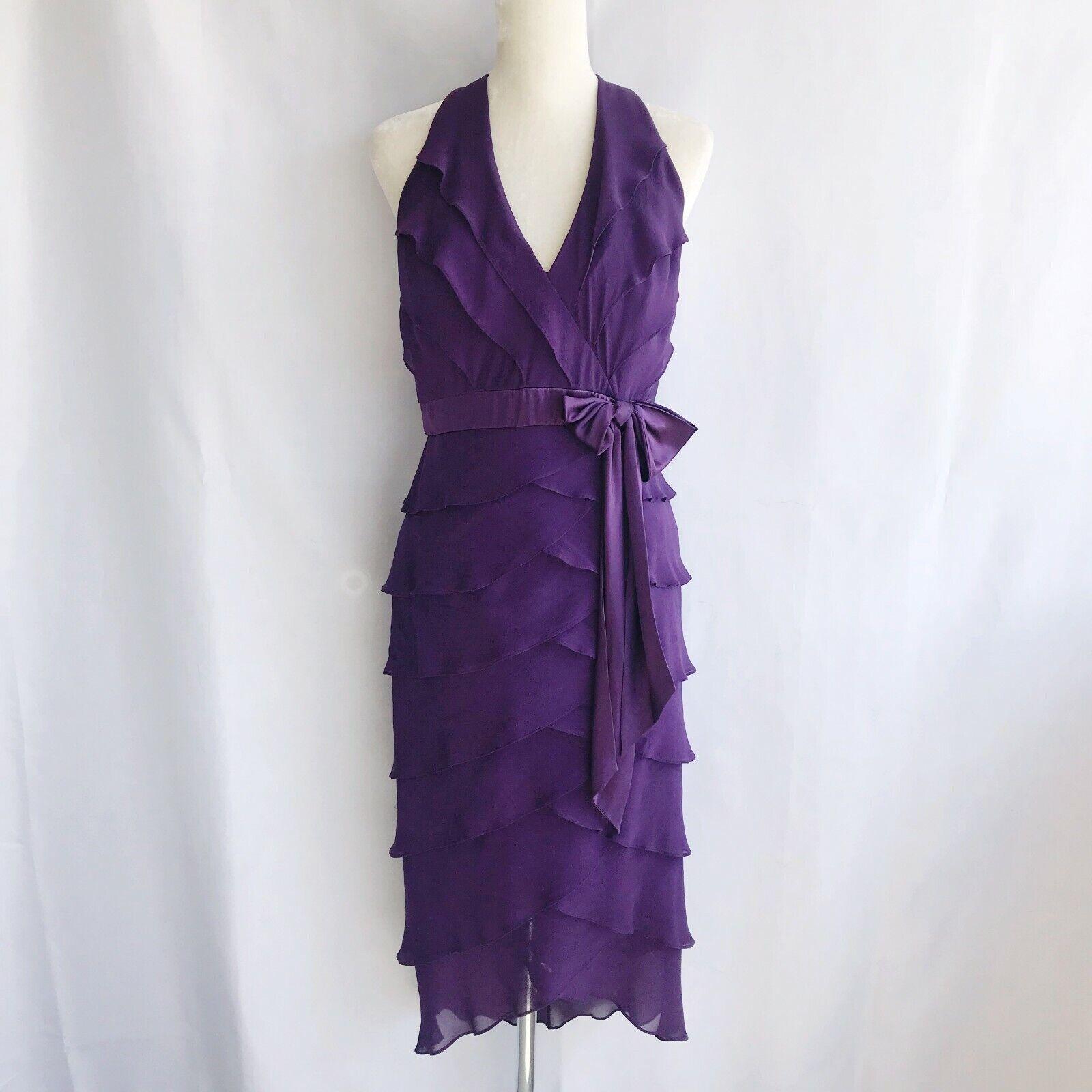 Tadashi Dress Größe US 10 lila Silk Ruffle Halter Layerot Lined Open Back