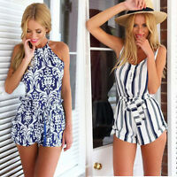 Hot Women Summer Sleeveless V-neck striped playsuit Jumpsuits Short Pants Romper