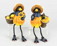 Youngs Fall Decor - Harvest Thanksgiving Boy & Girl Crow Sitters