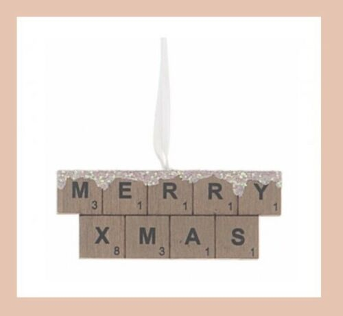Merry Xmas Scrabble Hanging Sign Rustic Christmas Decoration Home Decor Small