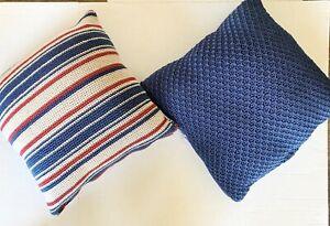 "The Sak Home Set Of 2 Crochet Pillows Blue And Stripe 18"" X 18"""