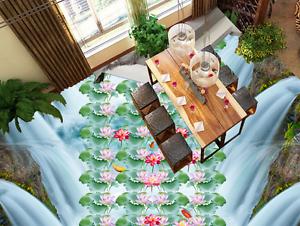 3D Lotus Fish River 8 Floor WallPaper Murals Wall Print 5D AJ WALLPAPER UK Lemon