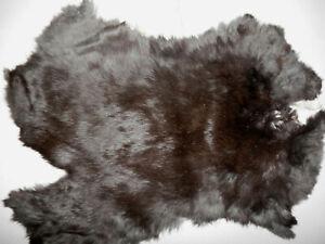 "Soft Natural (almost Black) Tanned Rabbit Fur Pelt Hide  9.5""x11""      #7384"