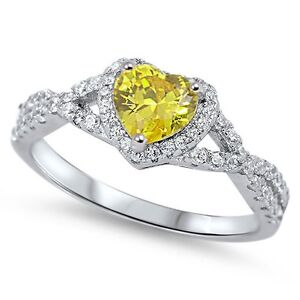 Sterling-Silver-925-HEART-LOVE-KNOT-YELLOW-CLEAR-CZ-PROMISE-RING-8MM-SIZES-4-12