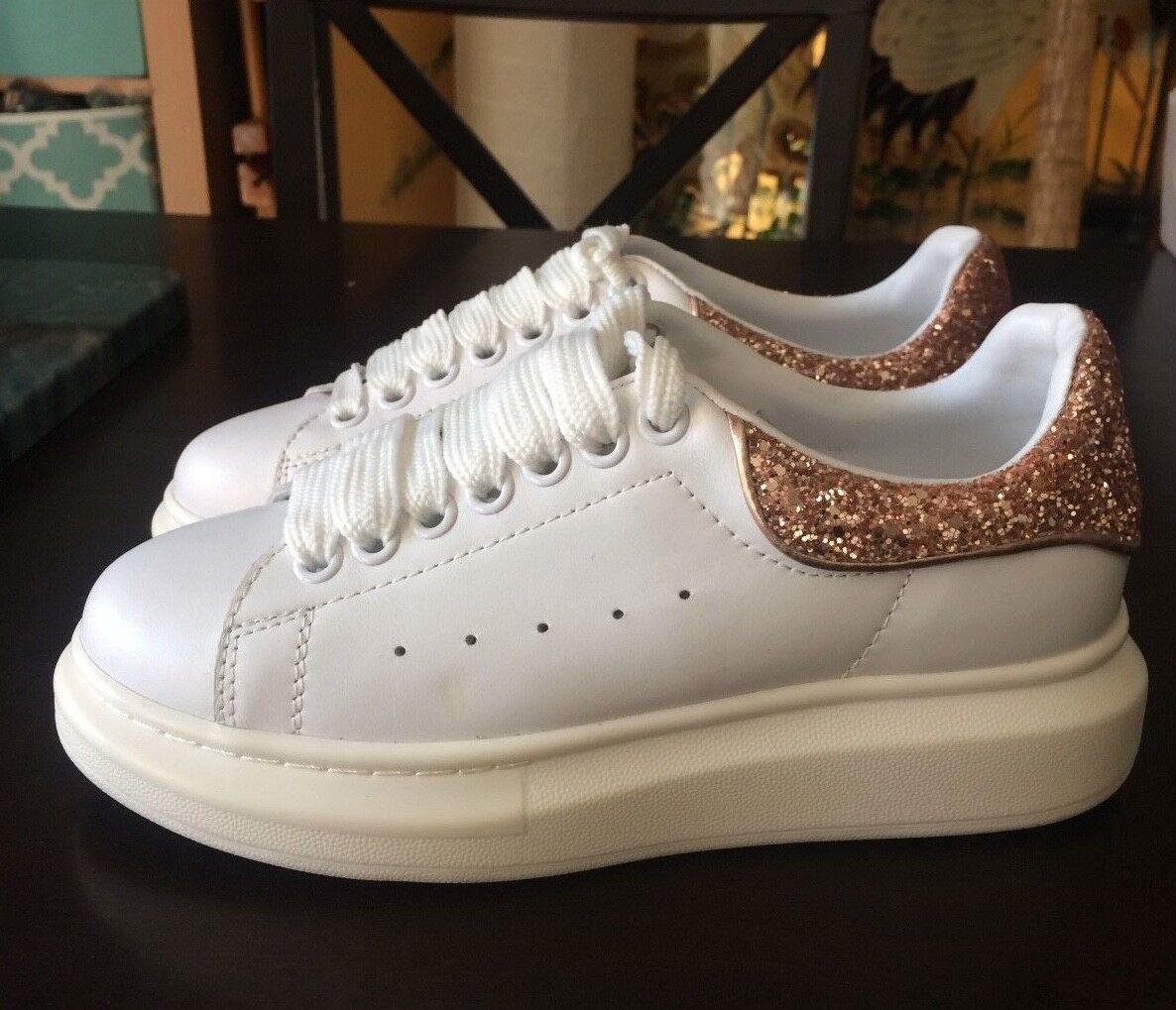 RARE ALEXANDER MCQUEEN pink gold Glitter Heel White Leather shoes 37 7 NEW