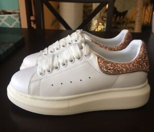 Details about RARE *ALEXANDER MCQUEEN* Rose Gold Glitter Heel White Leather  Shoes 37 7 NEW