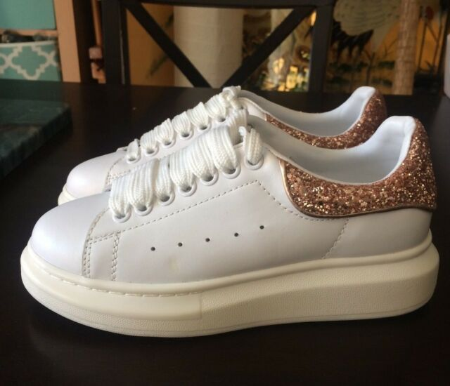 b3a06fde71b RARE  ALEXANDER MCQUEEN  Rose Gold Glitter Heel White Leather Shoes 37 7 NEW