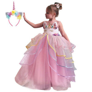Details about Unicorn Costume Birthday Wedding Ball Gown Princess Pageant  Dress for Kid Girl