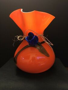 Beautiful Art Glass Orange Vase with Blue Tulip and Green Vine Circa 1980's