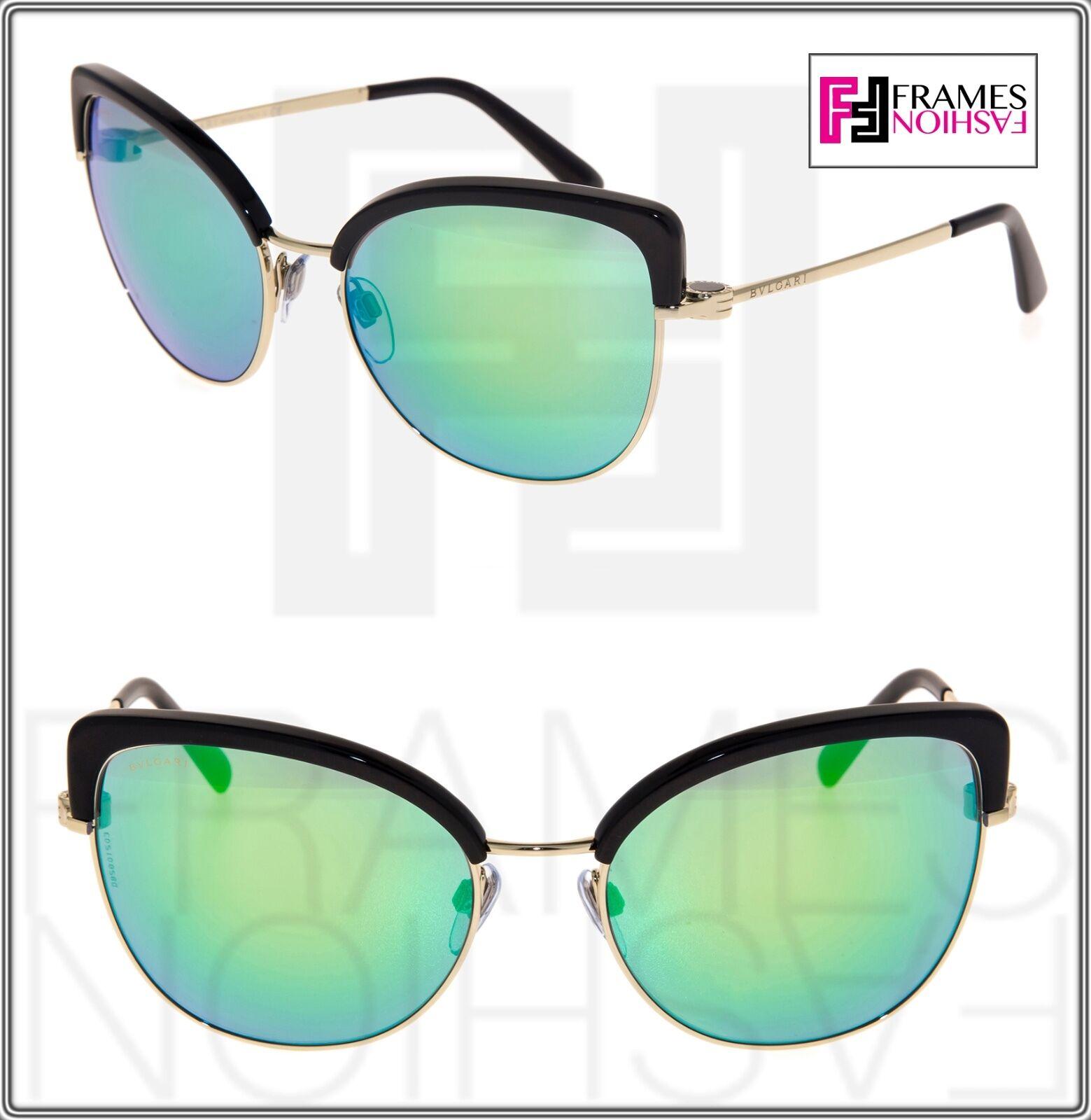 BVLGARI SIGNS COIN Gold Black Green Mirrored Metal Sunglasses BV6082 6082 Women