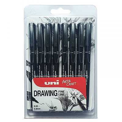 UNIBALL Pin Drawing Pen Fine Liner Art Craft .05,0.1,0.2,0.3,0.4.0.5,0.6,0.7,0.8