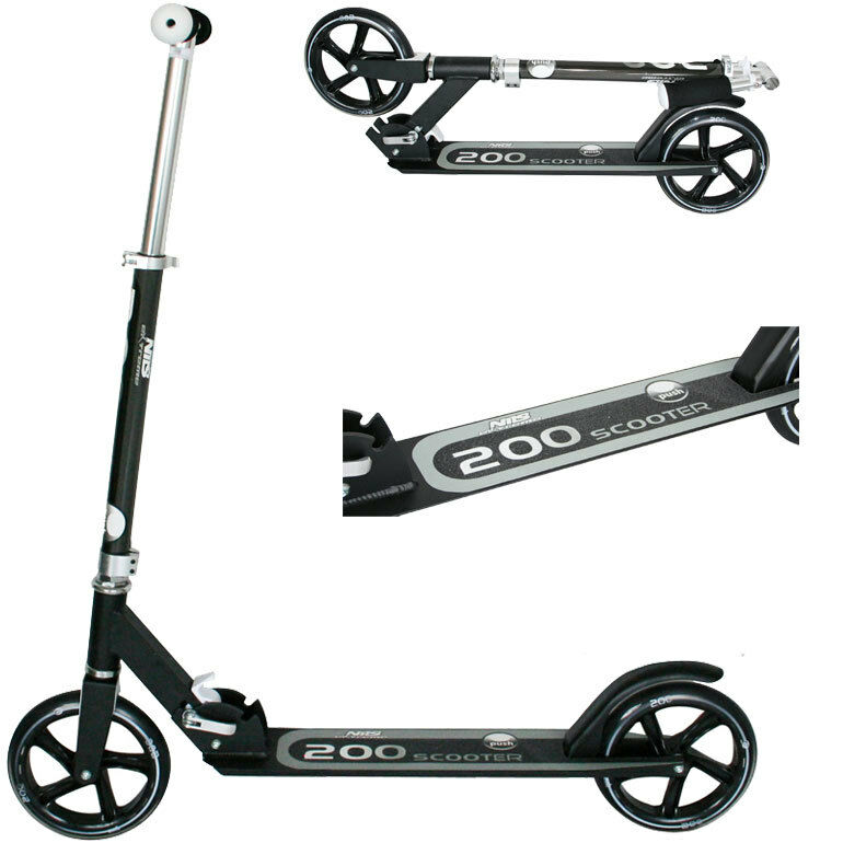 Verstellbarer Roller QD200 NILS Scooter Tretroller klappbar bis 100 kg SCHWARZ