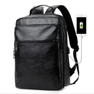 New-Mens-Black-Backpack-Fashion-Leather-Large-Capacity-Shoulder-Travel-Bag