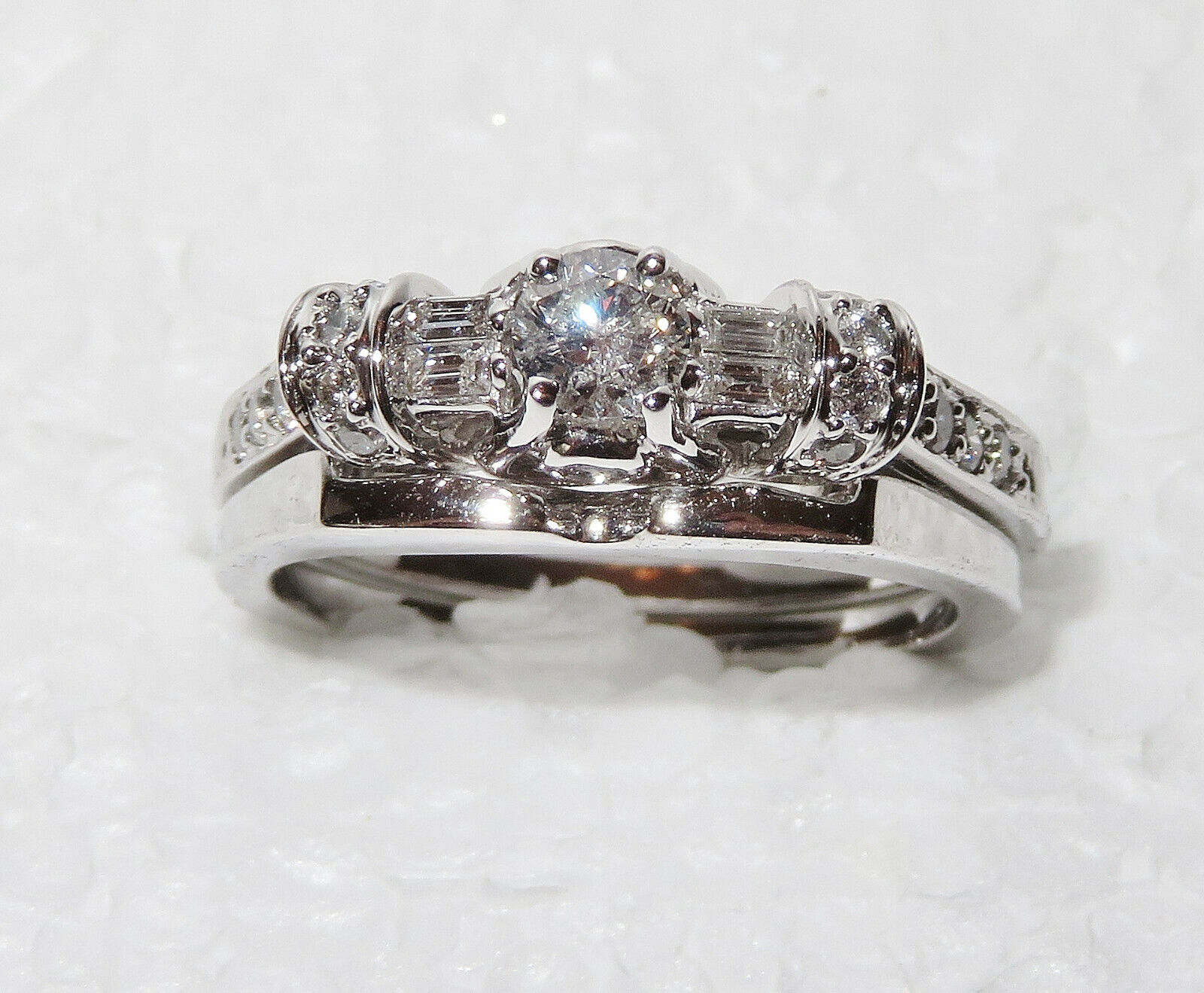 14K White gold wedding set, .50 carat, size 7
