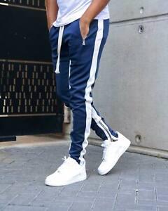 Mens-Gym-Slim-Fit-Tapered-Sweatpants-Workout-Jogger-Pants-Fitness-Zipper-Pockets