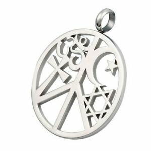 Religious stainless steel coexist peace pendant and ball chain image is loading religious stainless steel coexist peace pendant and ball aloadofball Images