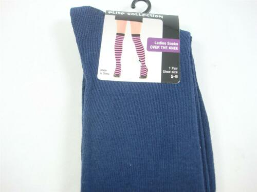 Elite Collection Over the Knee High Women/'s Socks navy blue color SZ 5-9 New