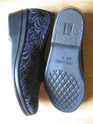 Nr.3 ROHDE Hausschuhe Gr. 4/ 37 schwarz Blumen Latschen Puschen Schuhe *NEU*