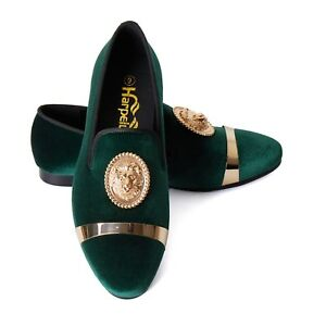 Image is loading Harpelunde-Green-Velvet-Loafer-Shoes-Animal-Buckle-Flats- 801d0935a7a1