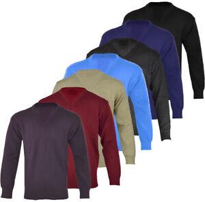 Mens-Plain-Casual-Long-Sleeve-V-Neck-Jumper-Top-Pullover-Golf-S-XXL