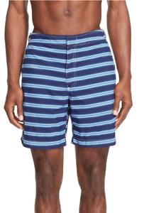 Polo Ralph Lauren Men's  'Monaco' Print Swim Trunks,Maine bluee,SIze 38, MSRP