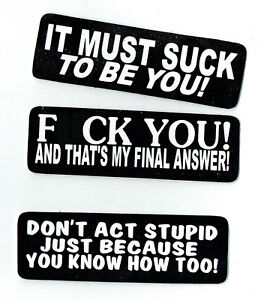 """Lot of 3 Biker Stickers Motorcycle Novelty Funny 1"""" x 3.5"""" Sucks to be You"""