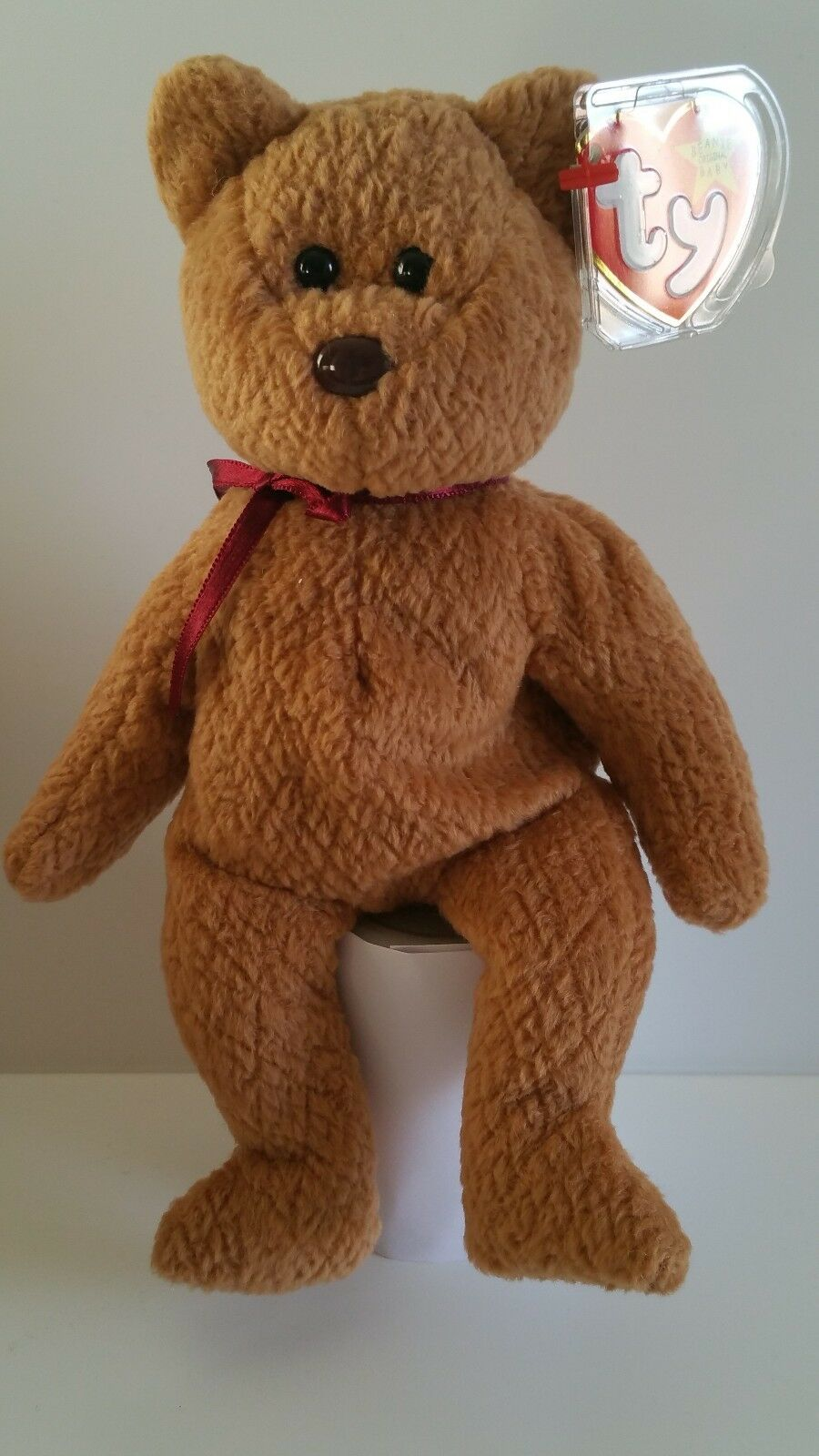Ty Beanie Babies - CURLY The Bear - Made in Indonesia  - Mint - bb b20c