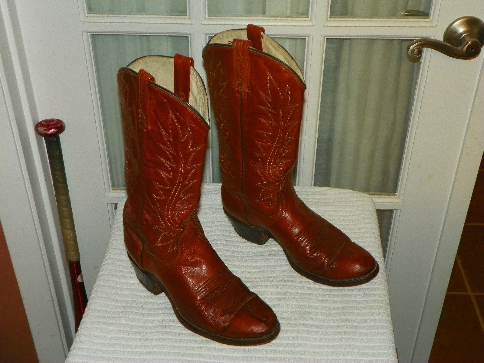 Dan Post Womens Size 7 C Honey Brown Leather Fancy Stitched Western Cowboy Boots