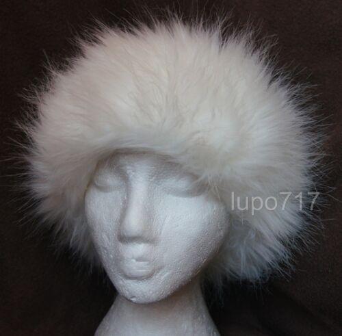 WHITE FLUFFY FAUX FUR HEADBAND HAT SKI EAR WARMER MUFFS NEW ONE SIZE 10CM WIDE