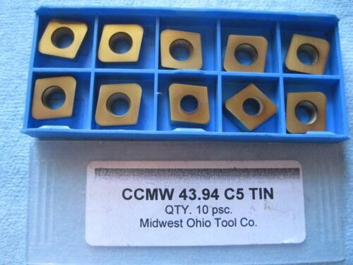10 PCS CCMW 43 .094 C5 TIN MIDWEST OHIO TOOL CO CARBIDE INSERTS LATHE MACHINIST