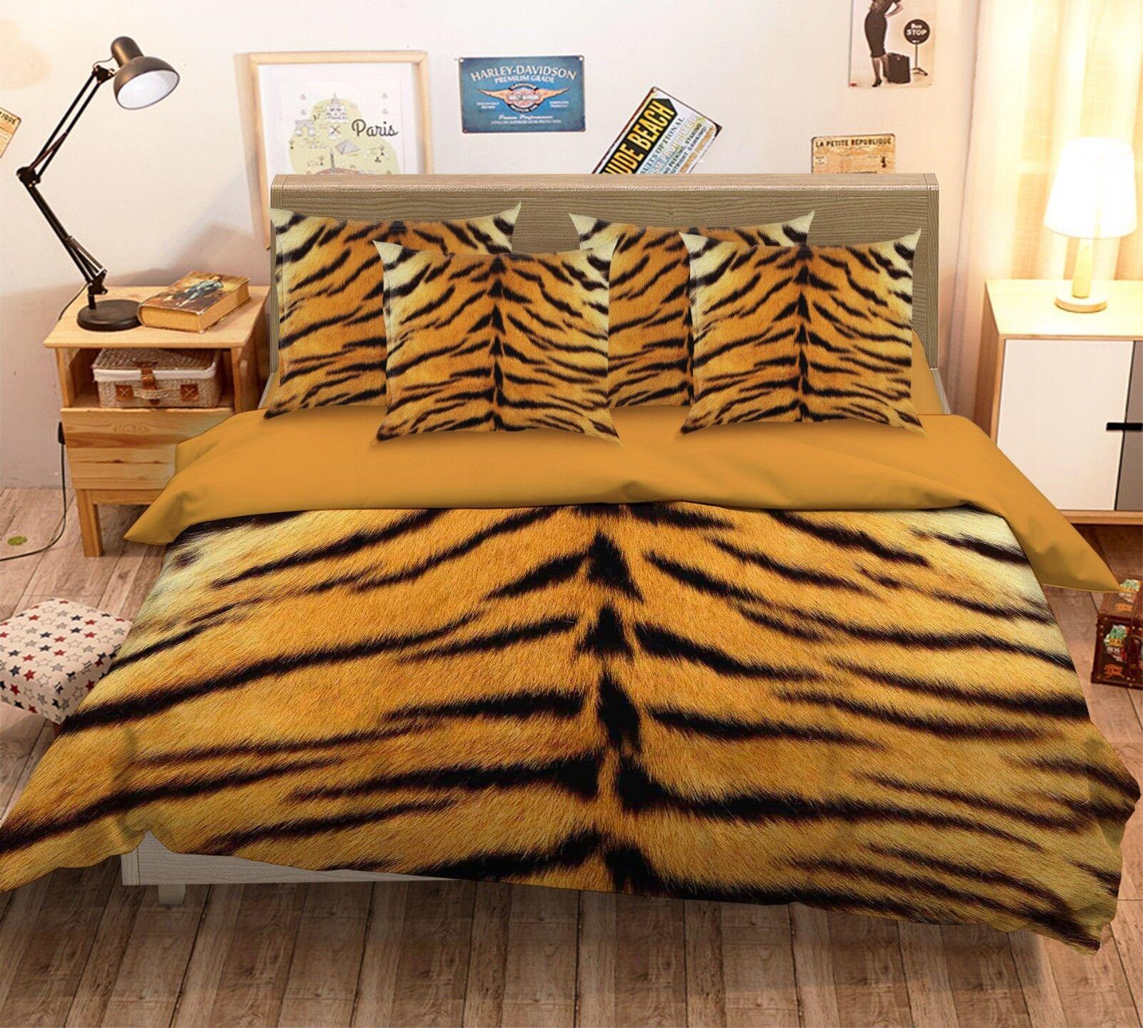 3D Tiger Skin Texture 4 Bed Pillowcases Quilt Duvet Cover Set Single Queen US
