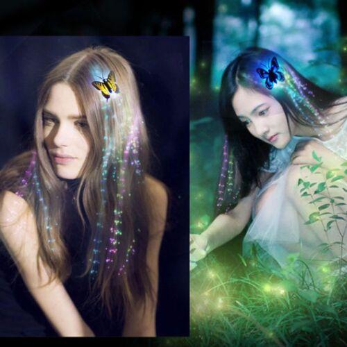 2x LED Haar Flashing Bunte Schmetterling Clip Geflecht Haarnadel Mädchen Party w